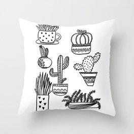 Cacti and Succulent Mix Throw Pillow