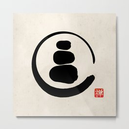 Zen Enso Circle and Zen stones Metal Print