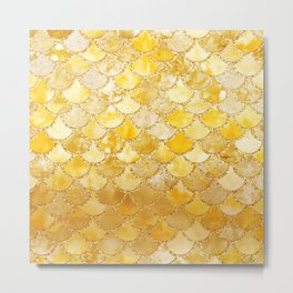 Sunny Gold Colorful Watercolor Trendy Glitter Mermaid Scales Metal Print