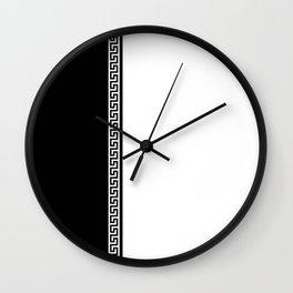Greek Key 2 - White and Black Wall Clock