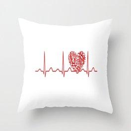 Math Teacher Heartbeat Throw Pillow