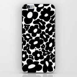 60s 70s Hippie Flowers Black iPhone Skin