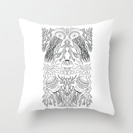 Jellyfish and Seaweed Black and White Throw Pillow