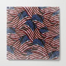 Rustic American Flags Metal Print