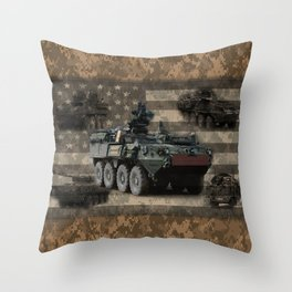 Stryker Armored Vehicle Throw Pillow