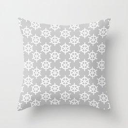 Ship Wheel (White & Gray Pattern) Throw Pillow