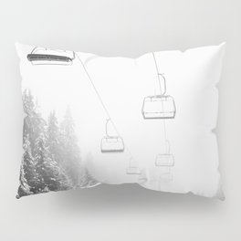 Snow Lift // Ski Chair Lift Colorado Mountains Black and White Snowboarding Vibes Photography Art Print Pillow Sham