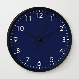 Navy Blue Minimalist Solid Color Block Wall Clock