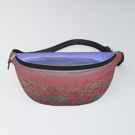 Big Fields Of Poppies. At Purple Sunset. Sierra Arana And Sierra Nevada Fanny Pack