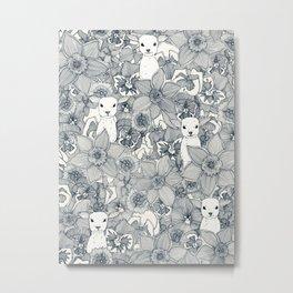 springtime flowers and lambs indigo Metal Print