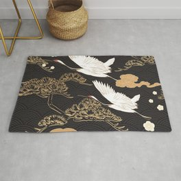 Japanese seamless pattern with crane birds and bonsai trees Rug
