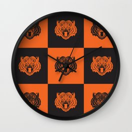Orange and Black Nine Tiger Cares Wall Clock