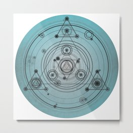 Blue distressed mandala circle with alchemy symbols Metal Print