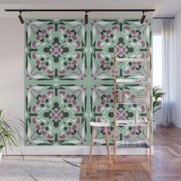 Mint Green Painted Symmetric Tile - Boho Style Mandala - Abstract Geometric Art Wall Mural
