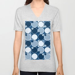 Cool Blue Round Things Unisex V-Neck