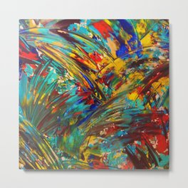 FIREWORKS IN COLOR - Bold Abstract Acrylic Painting Lovely Masculine Colorful Splash Pattern Gift Metal Print