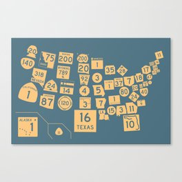 United State Highways of America - Slate Blue Canvas Print