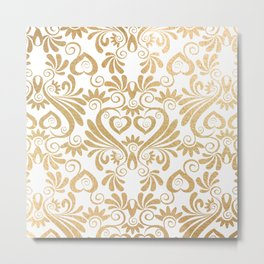 Gold foil swirls damask 14 Metal Print