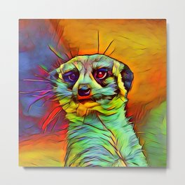 Animal ArtStudio -funky meerkat Metal Print