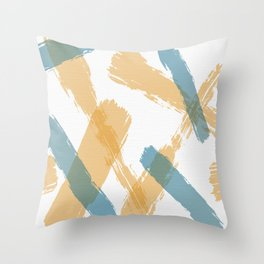 Brush Strokes Tan and Steel Throw Pillow
