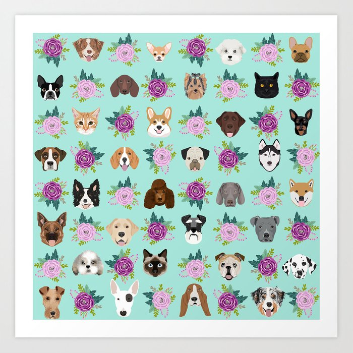 Dogs and cats pet friendly floral animal lover gifts dog breeds cat ladies Art Print