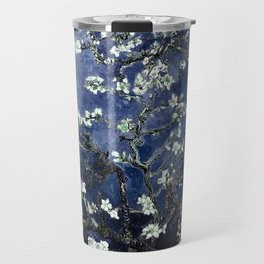 Vincent Van Gogh Almond Blossoms Dark Blue Travel Mug