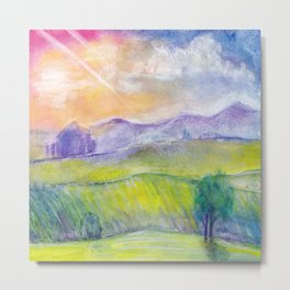 Abstract watercolor landscape with sunset, hills and fields Metal Print