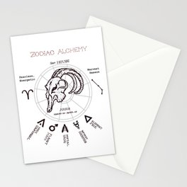 Zodiac Alchemy - Aries Symbols Stationery Cards