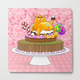 The Cat and the Cake Metal Print
