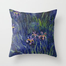 Irises No. 2 still life painting by Claude Monet Throw Pillow