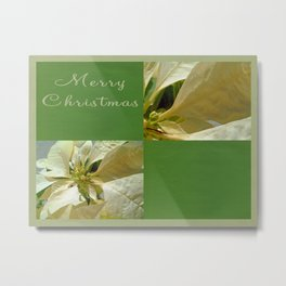 Pale Yellow Poinsettia 1 Merry Christmas Q5F1 Metal Print