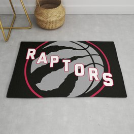 Raptors custom black logo Rug