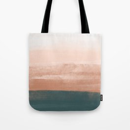 Desert Pink Mist on Teal Horizon _pastel abstract painting landscape shapes & shades Tote Bag