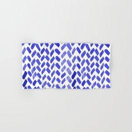 Cute watercolor knitting pattern - blue Hand & Bath Towel