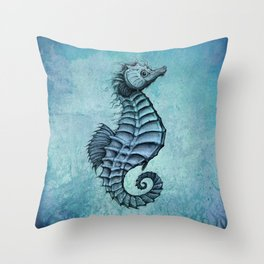 """Seahorse II"" by Amber Marine ~ Ink and Watercolor Art, (Copyright 2016) Throw Pillow"