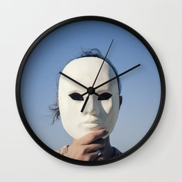 Mask enigmatic girl blue sky Wall Clock