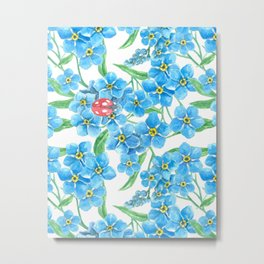 Forget me not and ladybug watercolor Metal Print