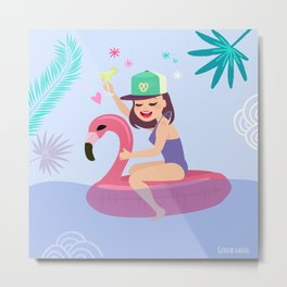 Yolo the Flamingo Metal Print