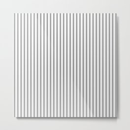 Ticking Narrow Striped Pattern in Dark Black and White Metal Print