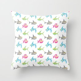 Fish and Sharks Cartoon Pattern for Kids II Throw Pillow