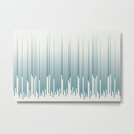 Tropical Dark Teal Minimal Frequency Line Art Inspired by Sherwin Williams 2020 Trending Color Oceanside SW6496 on Off White Metal Print