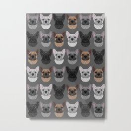 Frenchie Pattern Grey Metal Print
