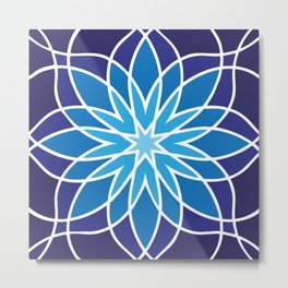 Shades of Blue | Abstract Flowers | Geometric Pattern | Blue and White | Metal Print