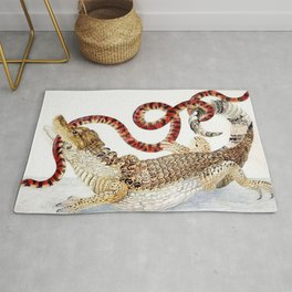 Spectacled Caiman and a False Coral Snake by Maria Sibylla Merian c.1705-10 // Wild Animals Decor Rug