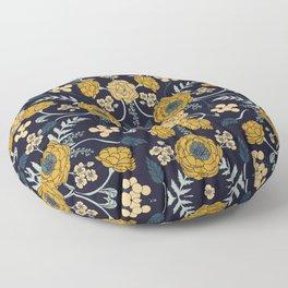 Navy Blue, Turquoise, Cream & Mustard Yellow Dark Floral Pattern Floor Pillow