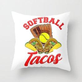 Cute Softball and Tacos Novelty Soft Ball Player Throw Pillow