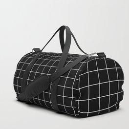 Grid Pattern Line Stripe Black and White Minimalist Geometric Stripes Lines Duffle Bag