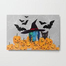 Witch bats pumpkin Halloween Metal Print