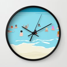 Stoked - memphis throwback retro neon pop art illustration socal cali beach surfing swimming sea Wall Clock