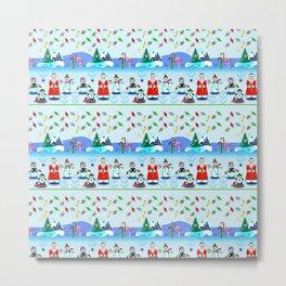 Christmas, Holiday Fantasy Santa Block Party Metal Print